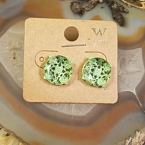Vintage west A mode green  earrings GUC